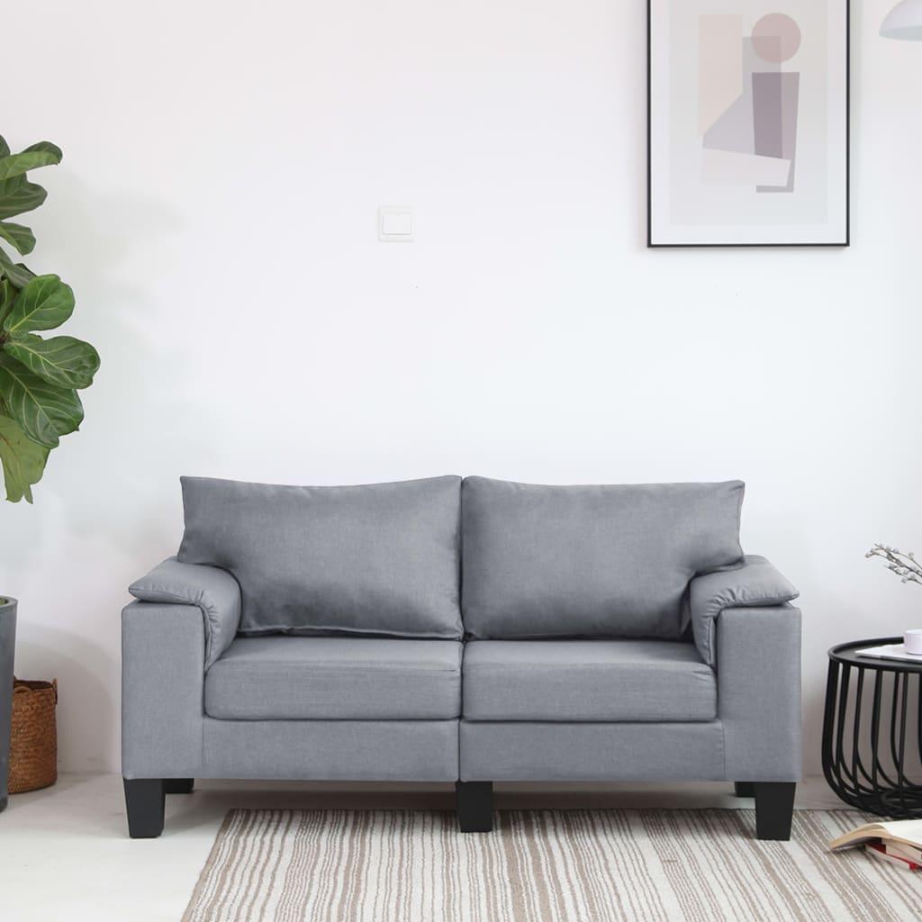 vidaXL Canapea cu 2 locuri, gri deschis, material textil poza 2021 vidaXL