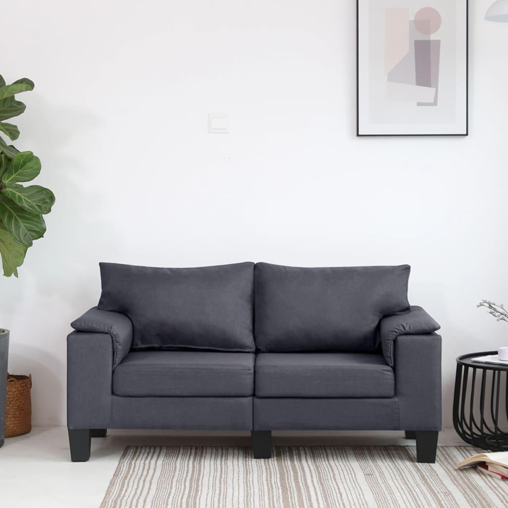 Canapé 2 places Gris Tissu Moderne Confort