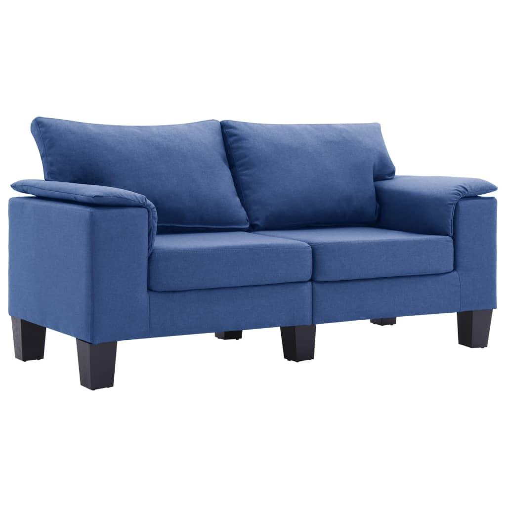 vidaXL Καναπές Διθέσιος Μπλε Υφασμάτινος
