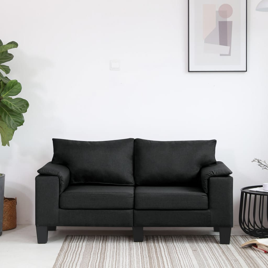 vidaXL 2-Sitzer-Sofa Schwarz Stoff