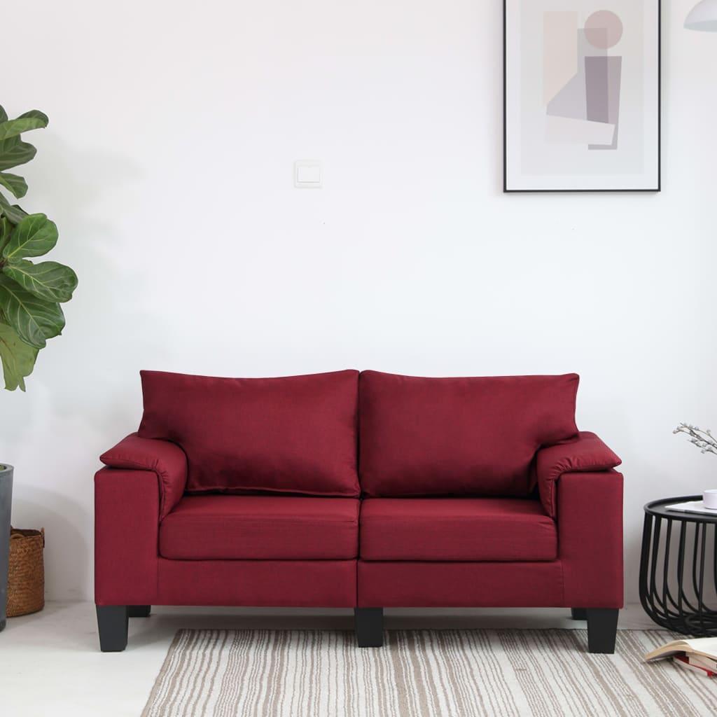 Canapé 2 places Rouge Tissu Moderne Confort