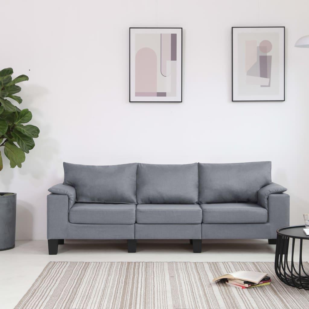 Canapé 3 places Gris Tissu Moderne Confort