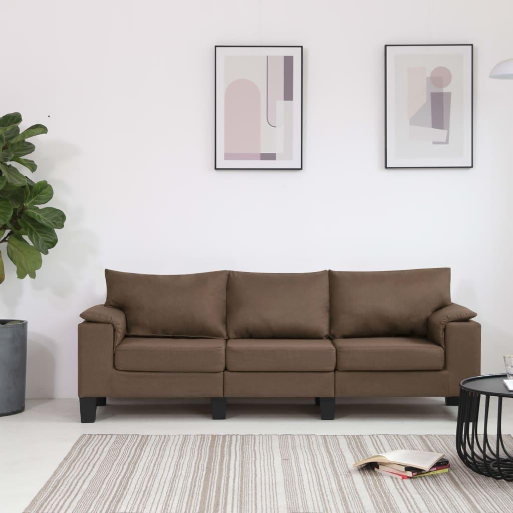 vidaXL 3-personers sofa stof brun