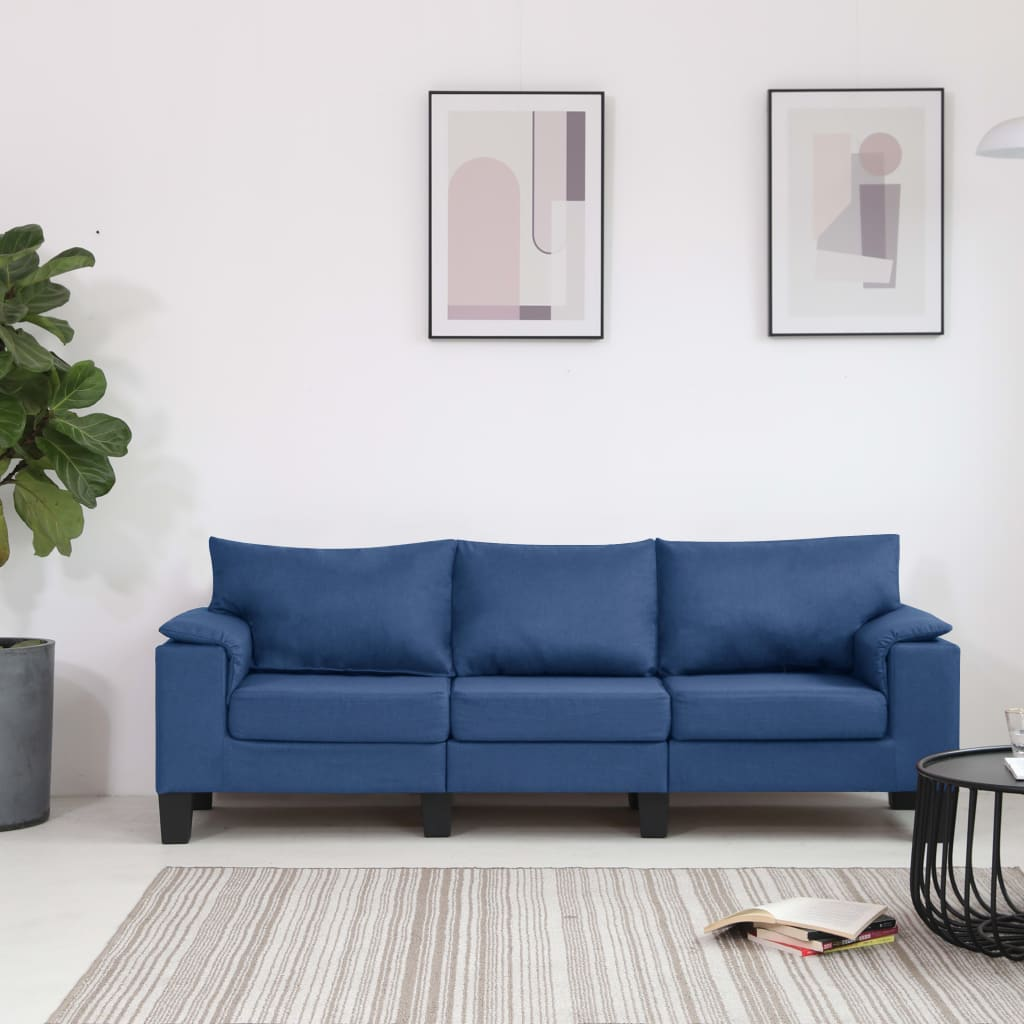 vidaXL Canapea cu 3 locuri, albastru, material textil poza vidaxl.ro