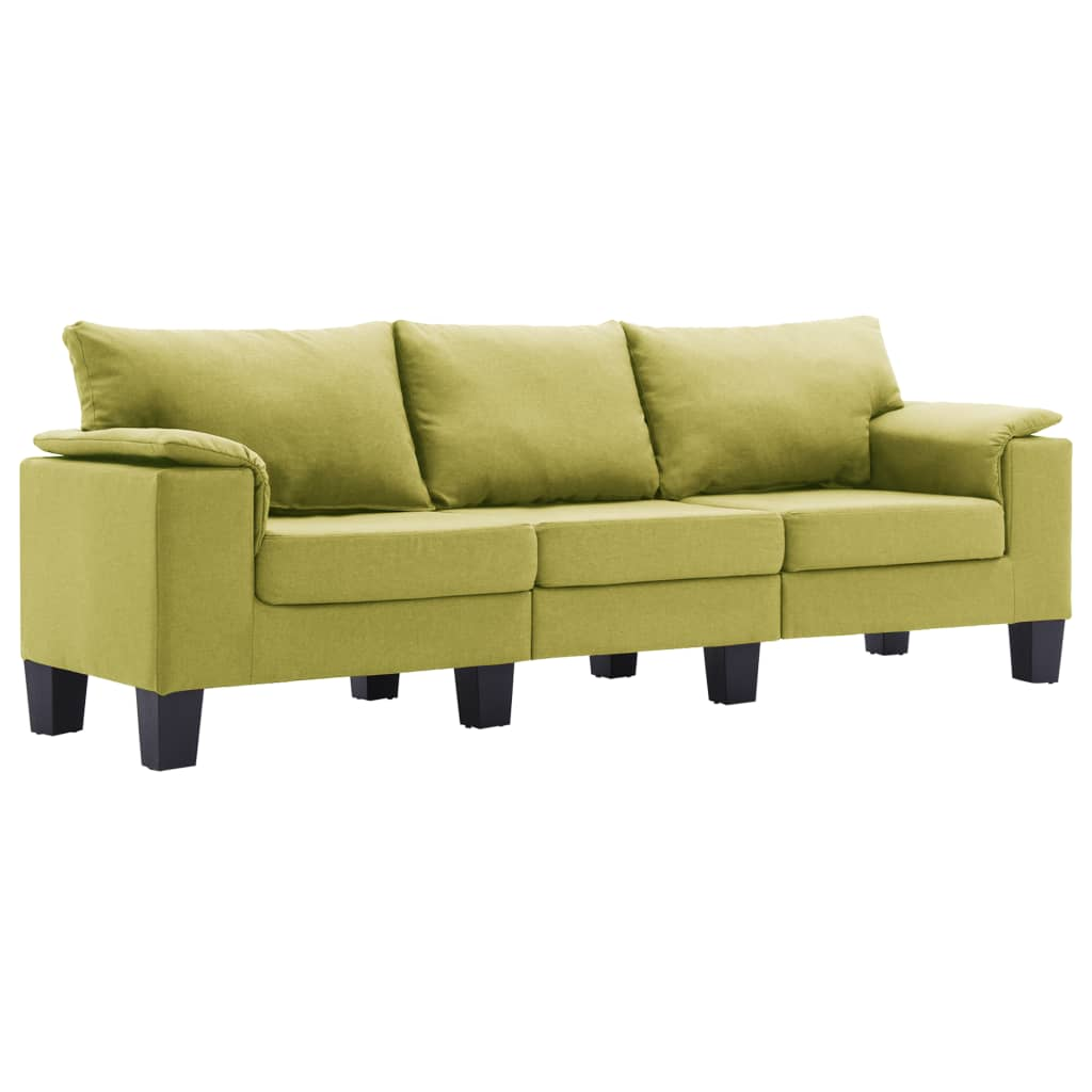 vidaXL Καναπές Τριθέσιος Πράσινος Υφασμάτινος