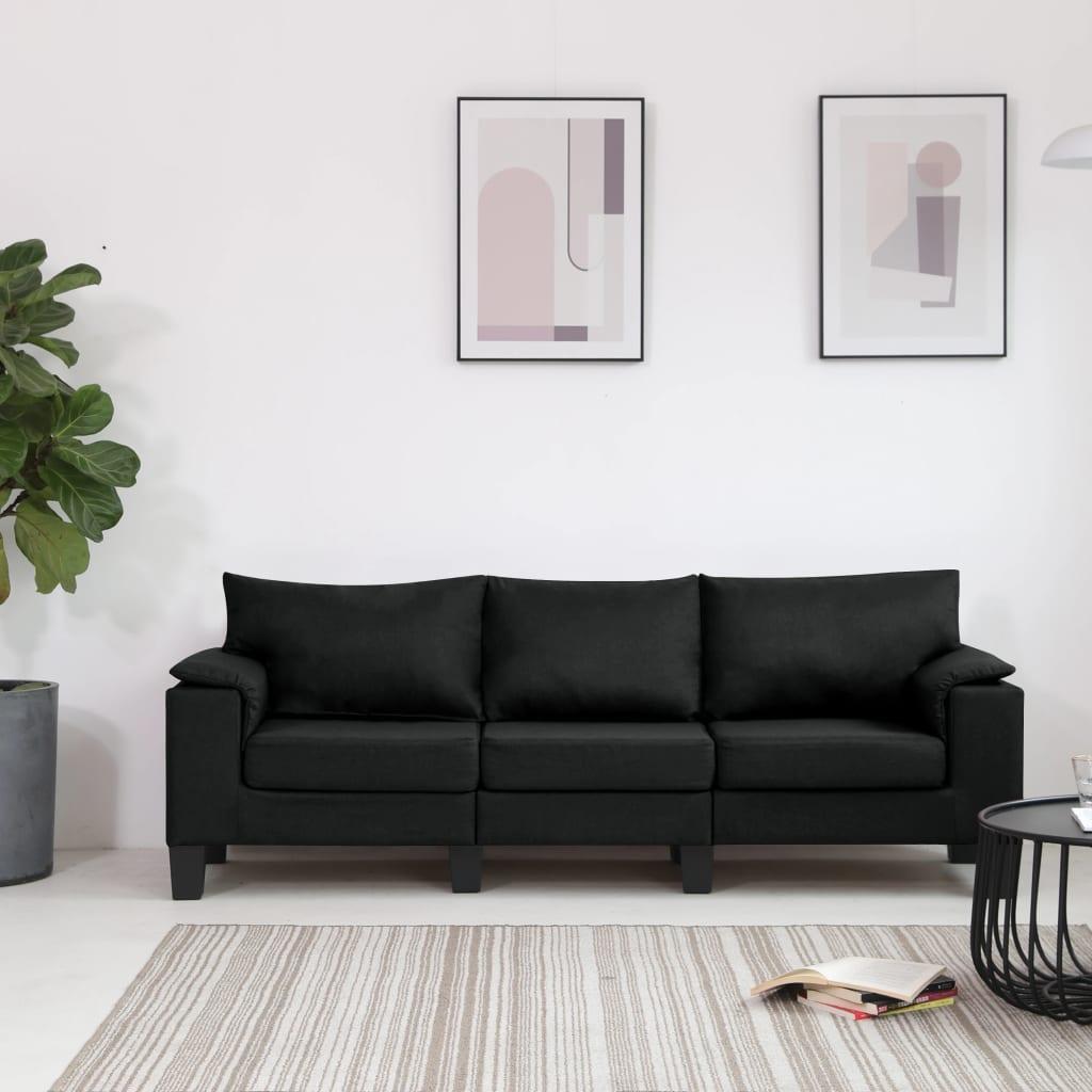 vidaXL 3-Sitzer-Sofa Schwarz Stoff