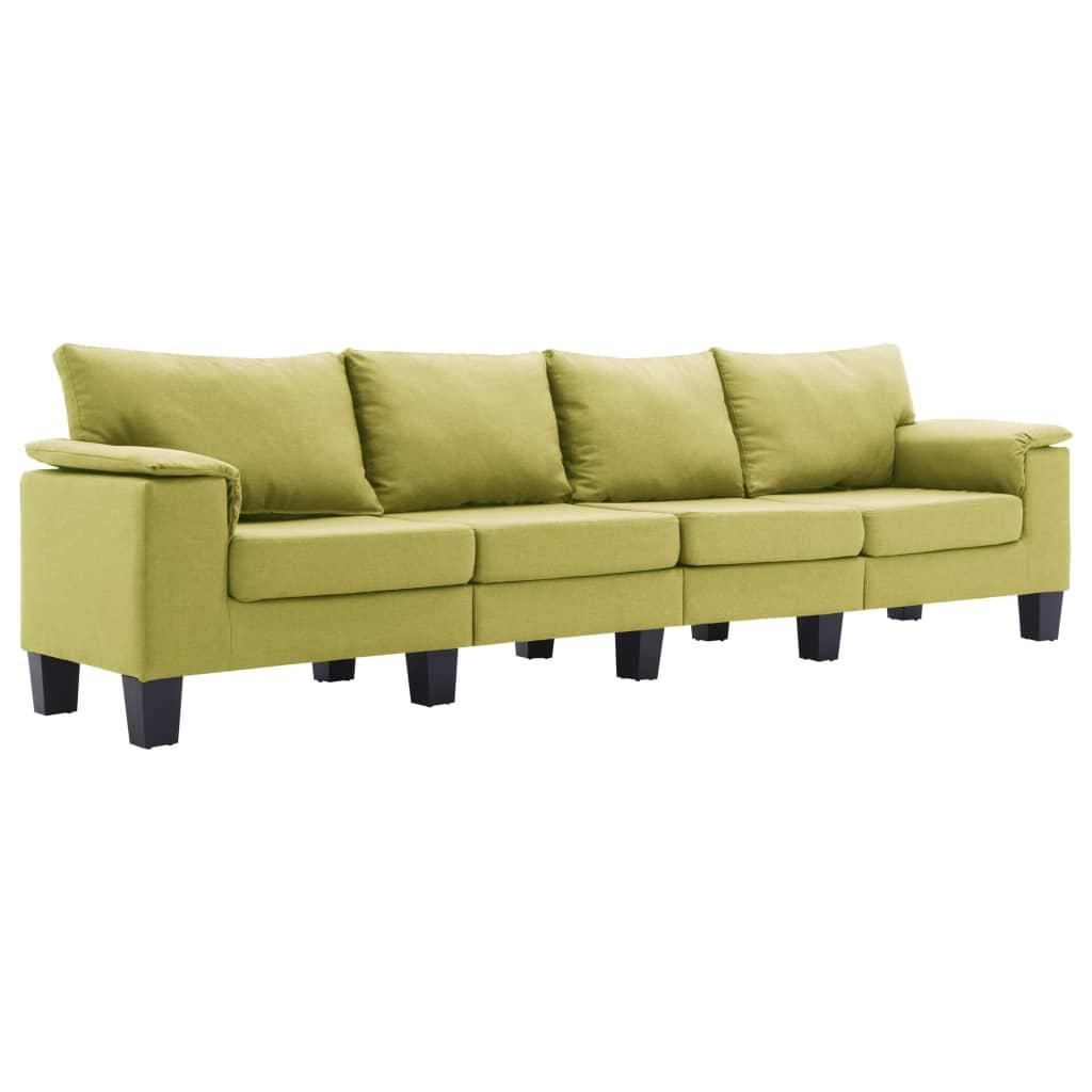 vidaXL Καναπές Τετραθέσιος Πράσινος Υφασμάτινος