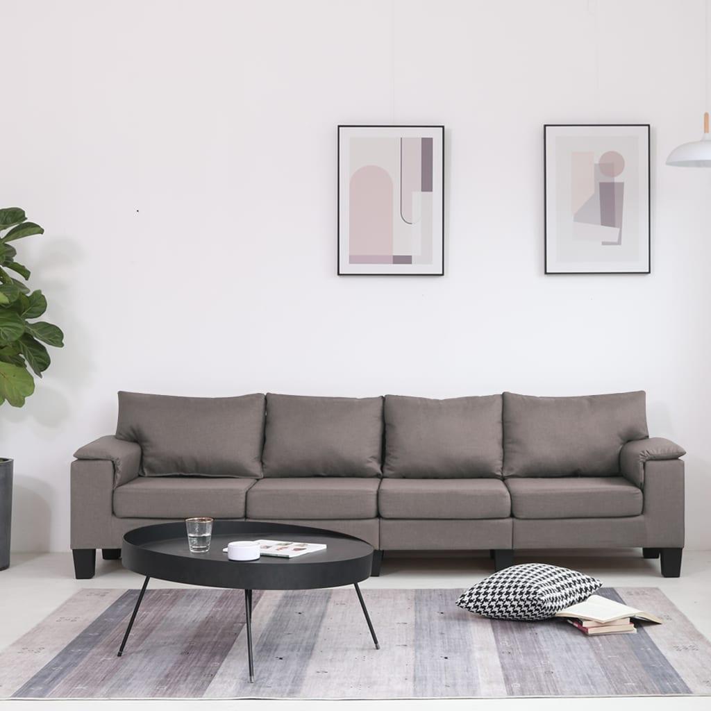vidaXL Canapea cu 4 locuri, gri taupe, material textil imagine vidaxl.ro