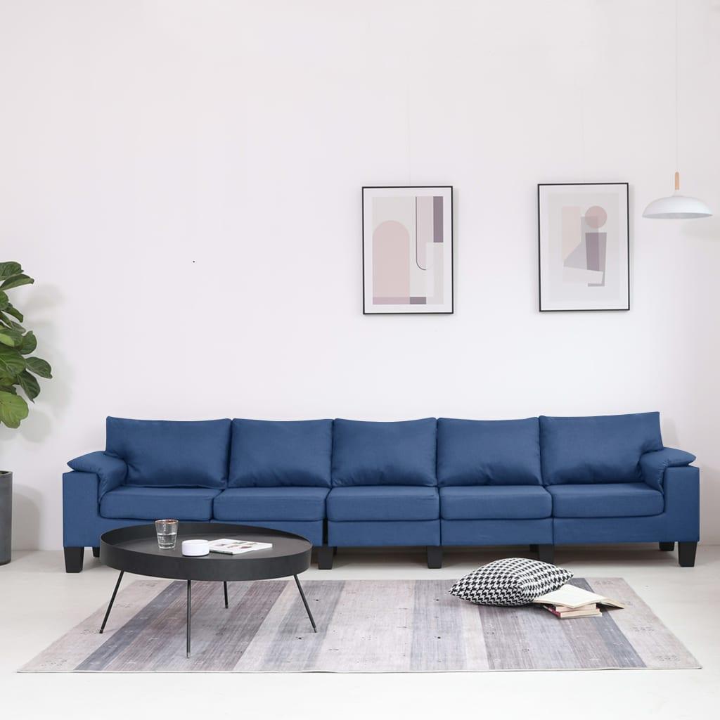 Canapé 5 places Bleu Tissu Moderne Confort