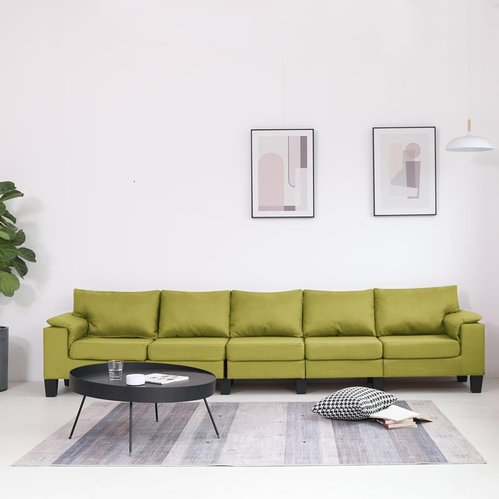 vidaXL Canapea cu 5 locuri, verde, material textil poza vidaxl.ro