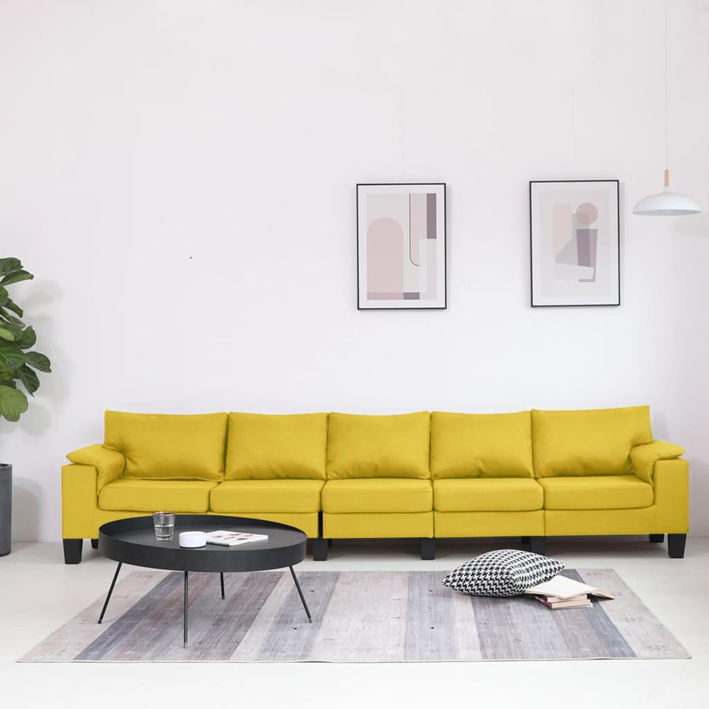 Canapé 5 places Jaune Tissu Moderne Confort