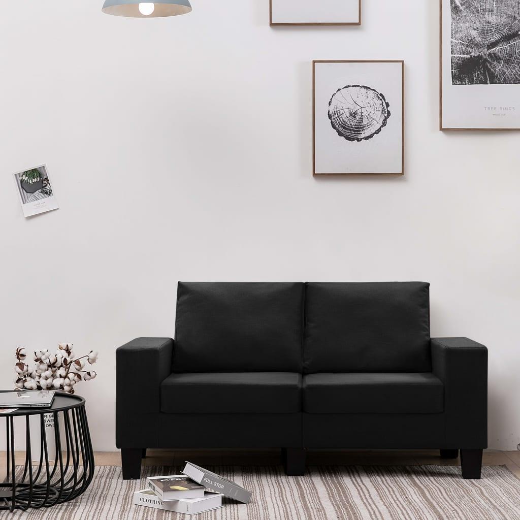 Canapé 2 places Noir Tissu Moderne Confort