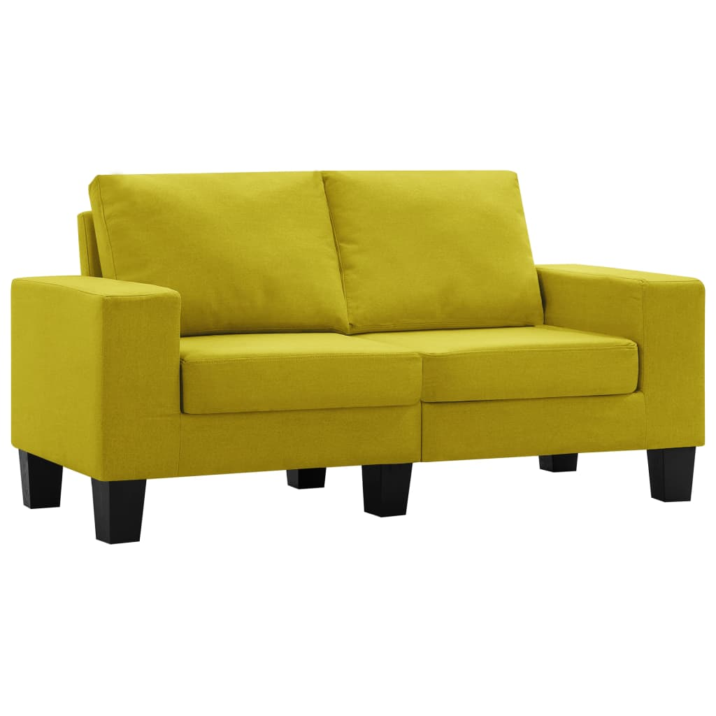 vidaXL Καναπές Διθέσιος Κίτρινος Υφασμάτινος