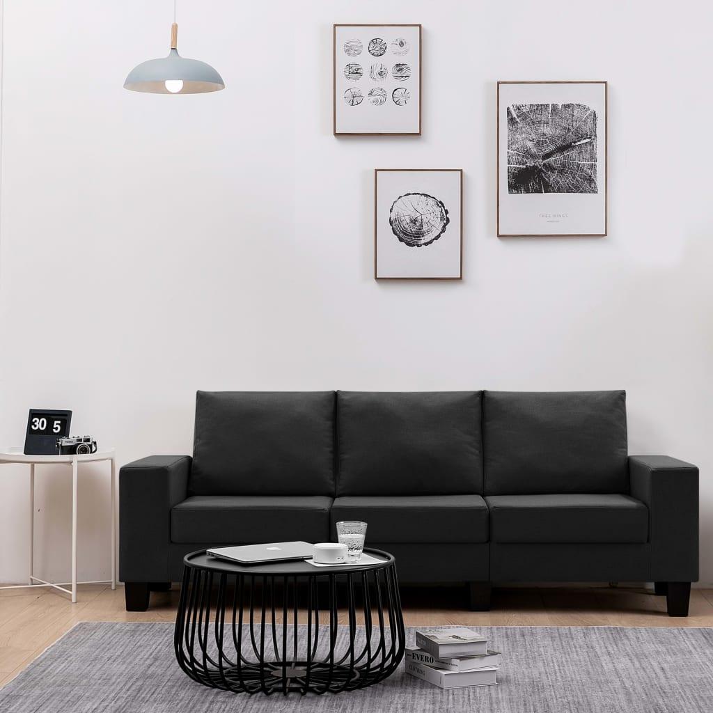 Canapé droit 3 places Noir Tissu Pas cher Moderne Confort