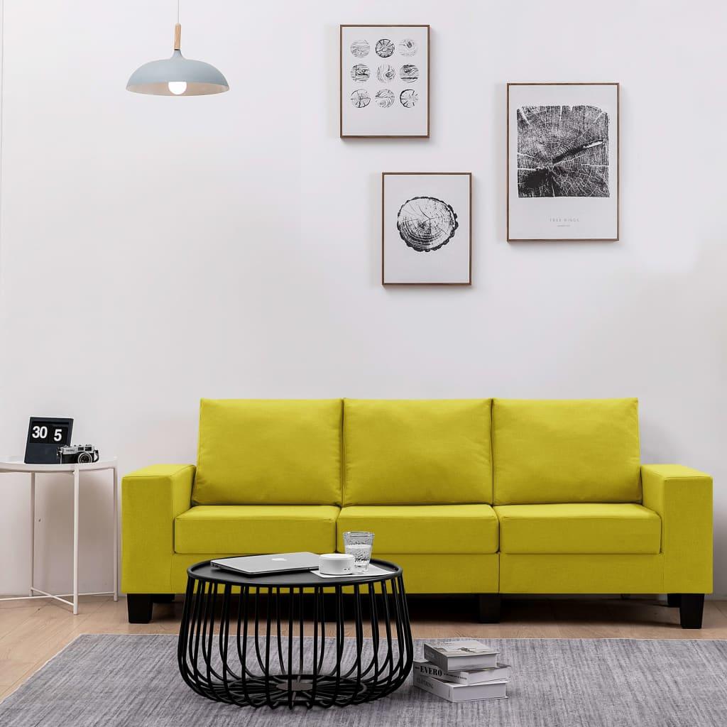 Canapé 3 places Jaune Tissu Moderne Confort