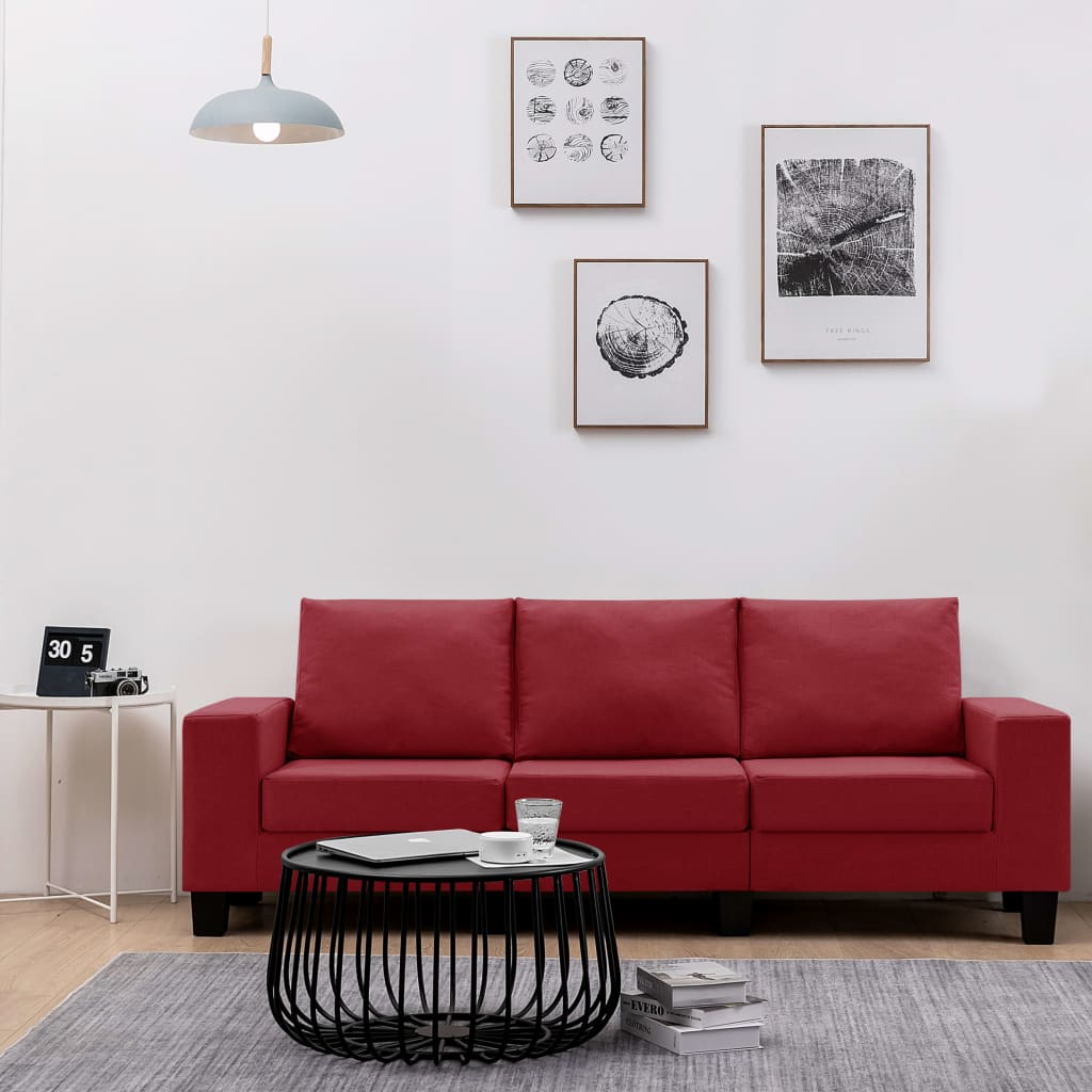 3-Sitzer-Sofa Weinrot Stoff