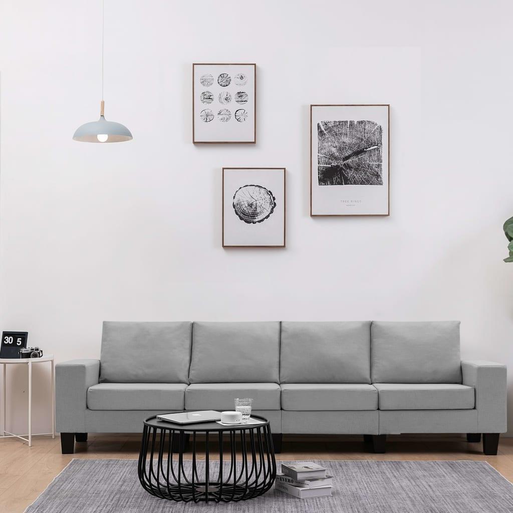 Canapé 4 places Gris Tissu Moderne Confort