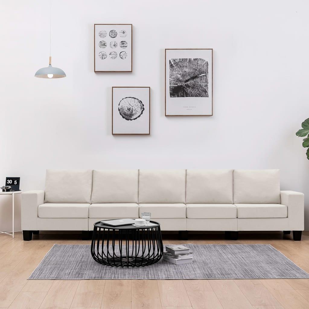 Canapé 5 places Tissu Moderne Confort