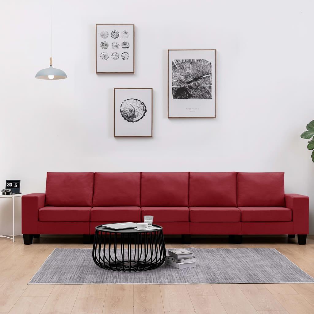 Canapé 5 places Rouge Tissu Moderne Confort