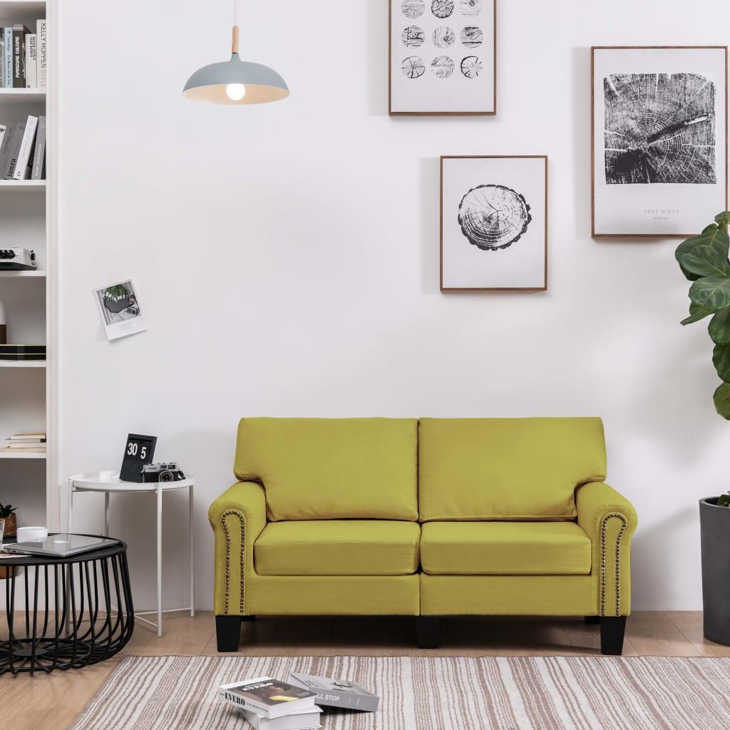 vidaXL Canapea cu 2 locuri, verde, material textil imagine vidaxl.ro