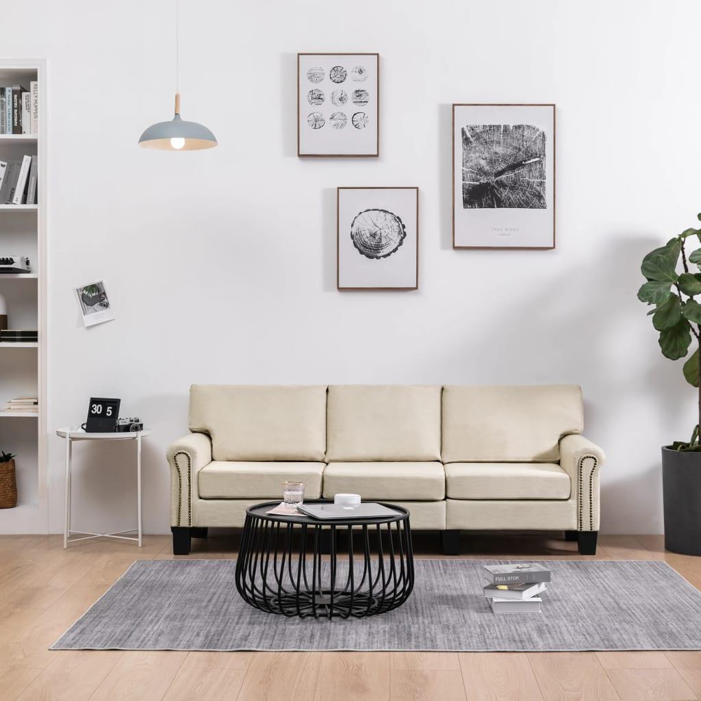 vidaXL 3-personers sofa stof cremefarvet