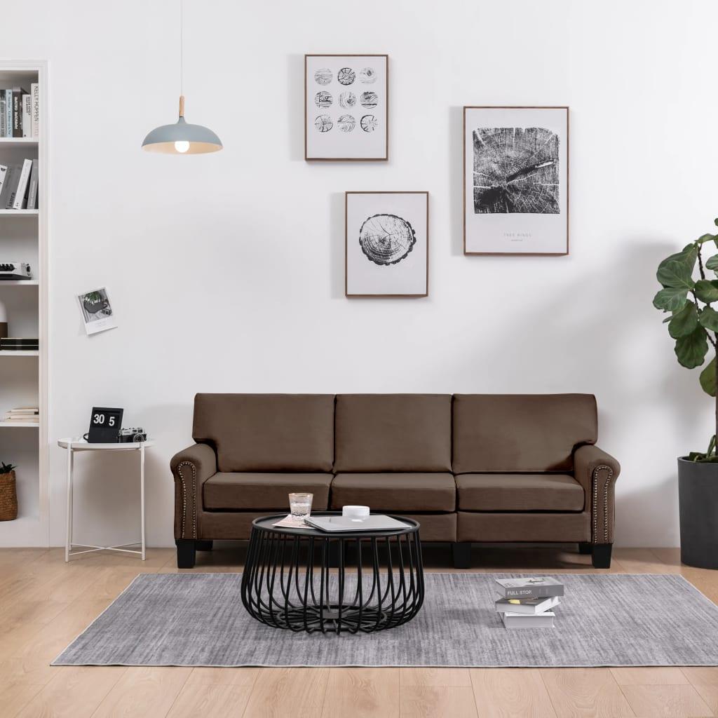 Canapé 3 places Marron Tissu Moderne Confort