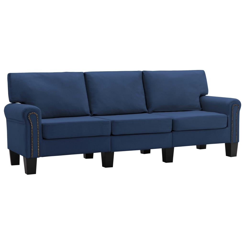 vidaXL Καναπές Τριθέσιος Μπλε Υφασμάτινος