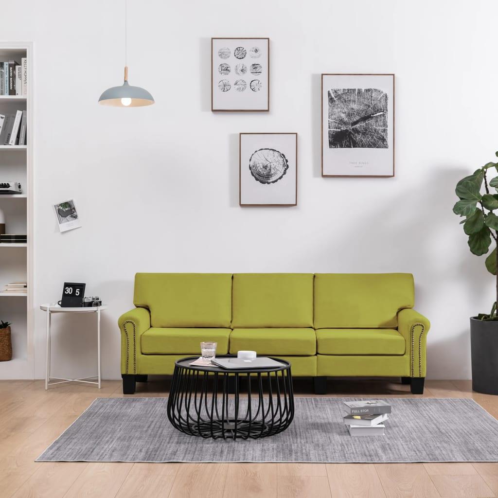 <ul><li>Farbe: Grün</li><li>Material: MDF-Rahmen, Stoffbezug (100% Polyester), Kunststoffbeine</li><li>Abmessungen: 198,5 x 70 x 75 cm (B x T x H)</li><li>Sitztiefe: 49,5 cm</li><li>Sitzhöhe vom Boden: 38 cm</li><li>Armlehnenhöhe vom Boden: 51,5 cm</li><li>Montage erforderlich: Ja</li></ul>