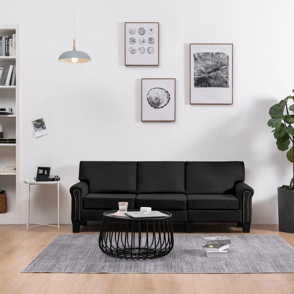vidaXL Canapea cu 3 locuri, negru, material textil imagine vidaxl.ro