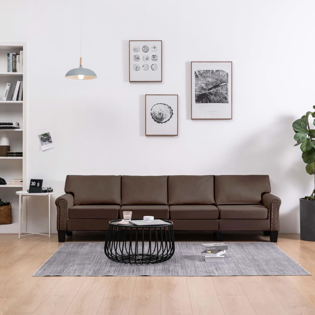 Canapé 4 places Marron Tissu Moderne Confort