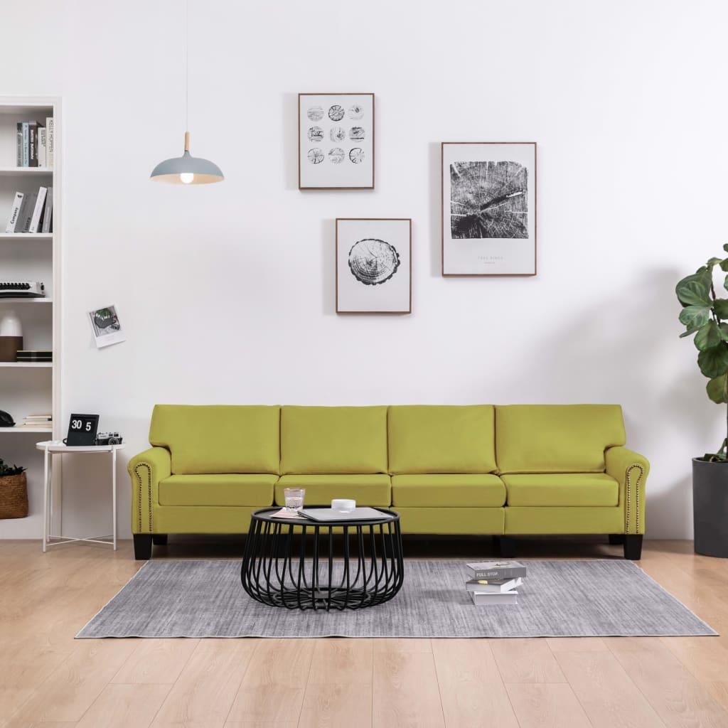 vidaXL Canapea cu 4 locuri, verde, material textil poza 2021 vidaXL
