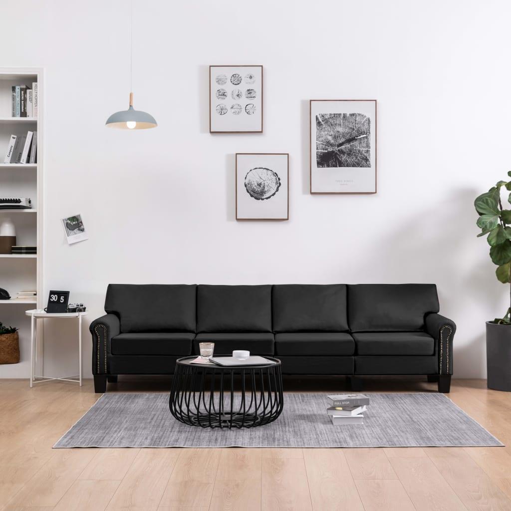 Canapé 4 places Noir Tissu Moderne Confort