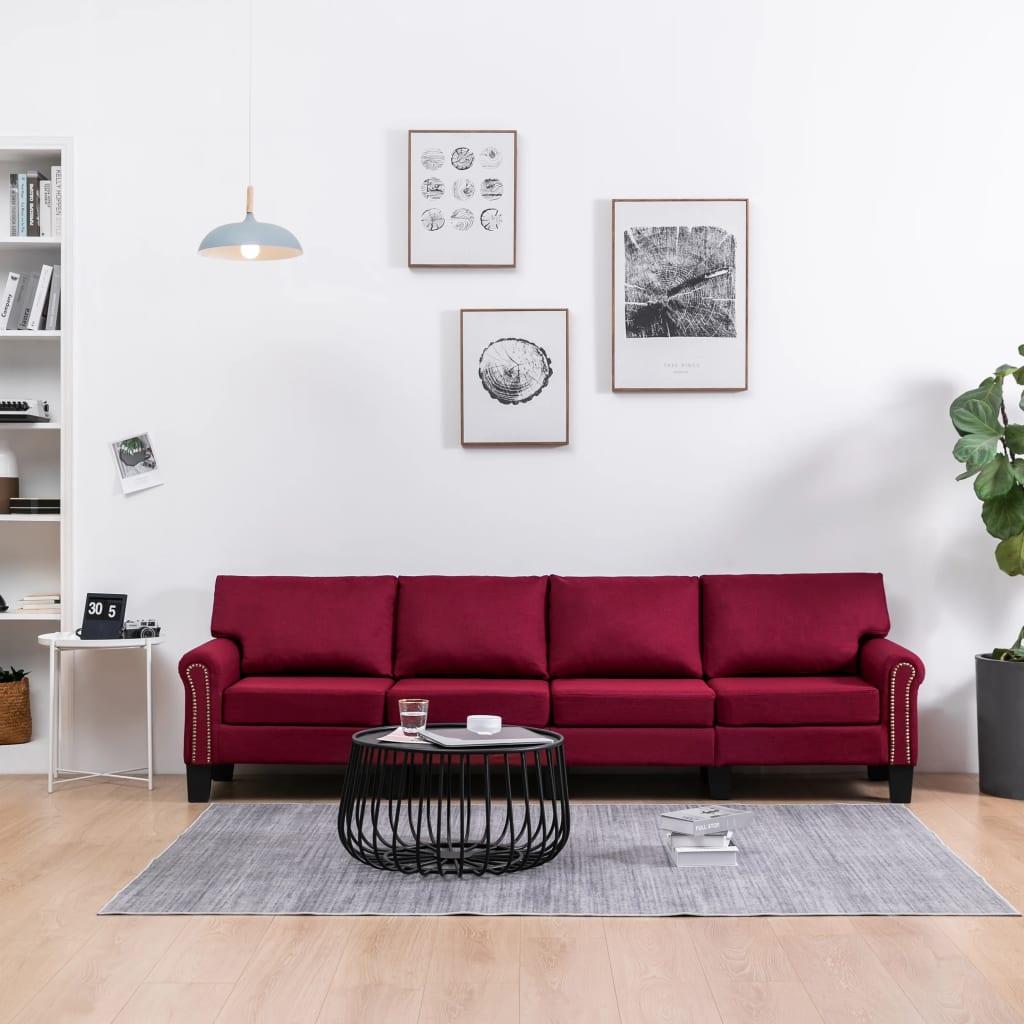 Canapé 4 places Rouge Tissu Moderne Confort