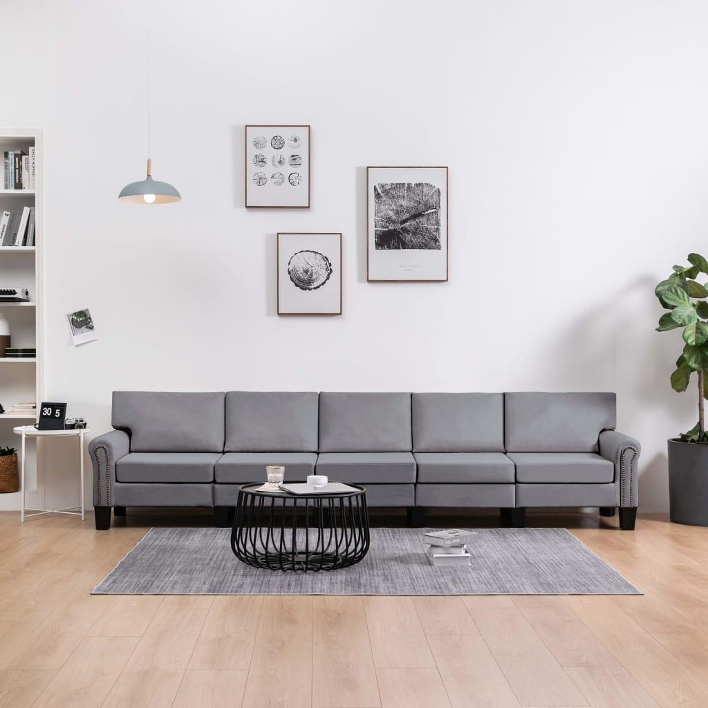 Canapé 5 places Gris Tissu Moderne Confort