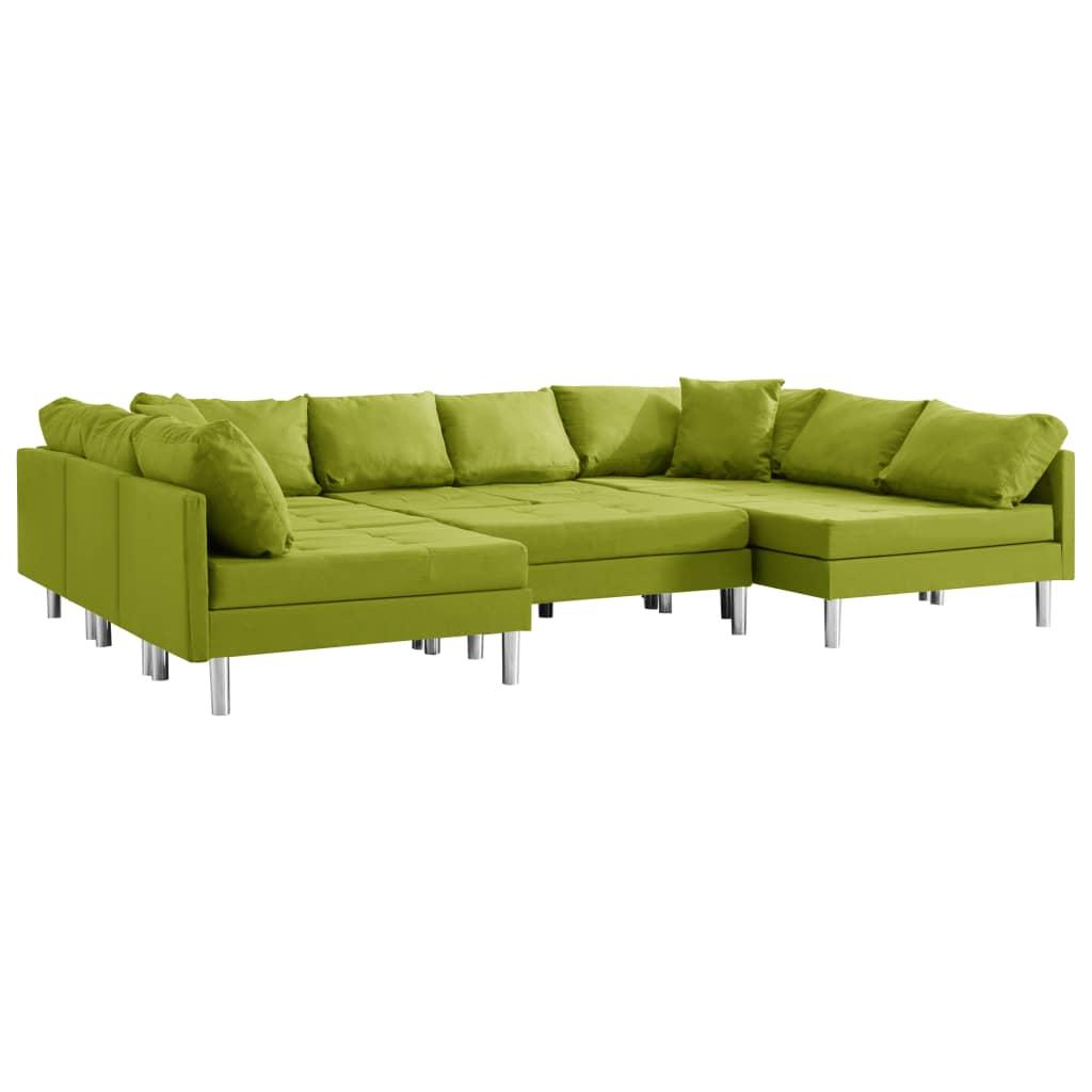 vidaXL Καναπές Τμηματικός Πράσινος Υφασμάτινος