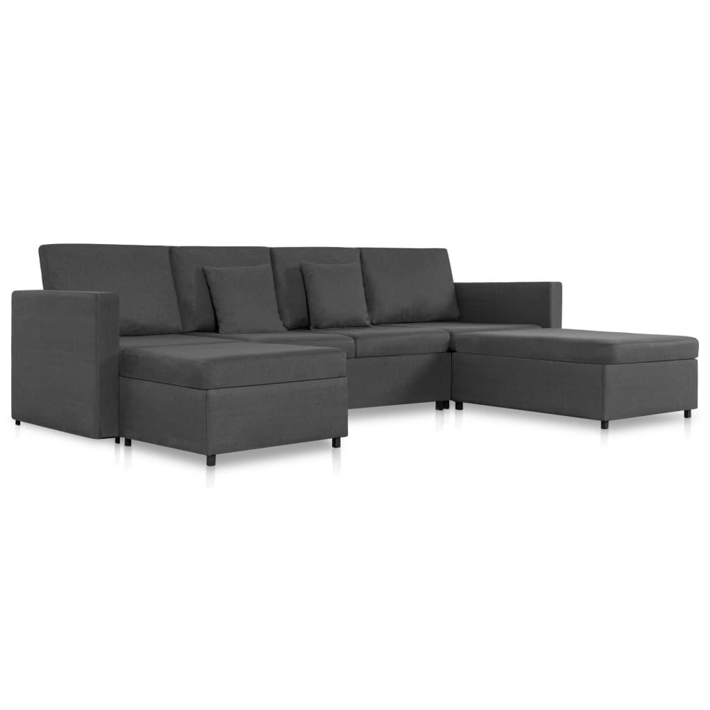 vidaXL Καναπές Κρεβάτι Τετραθέσιος Συρόμενος Σκούρο Γκρι Υφασμάτινος