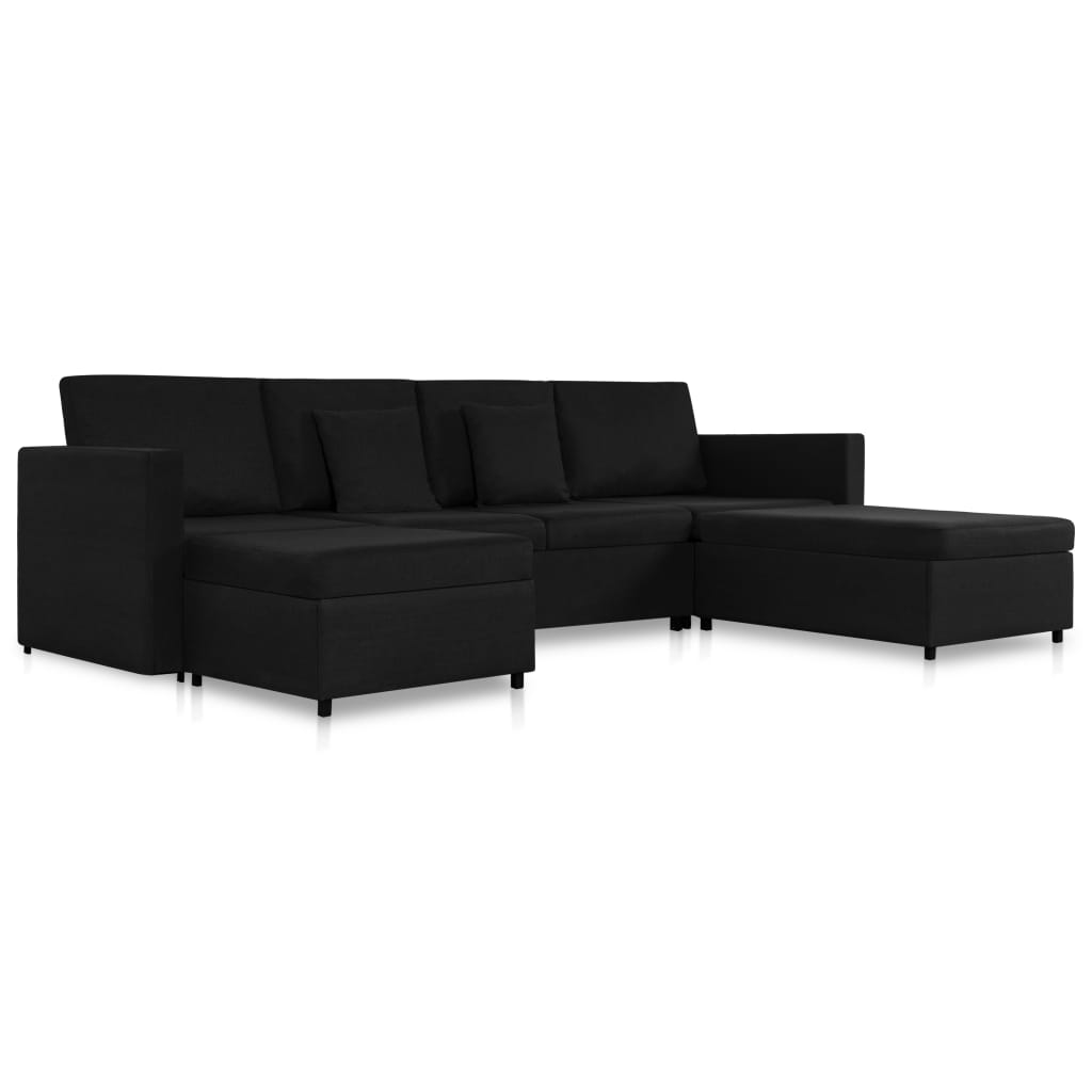 vidaXL Καναπές Κρεβάτι Τετραθέσιος Συρόμενος Μαύρος Υφασμάτινος