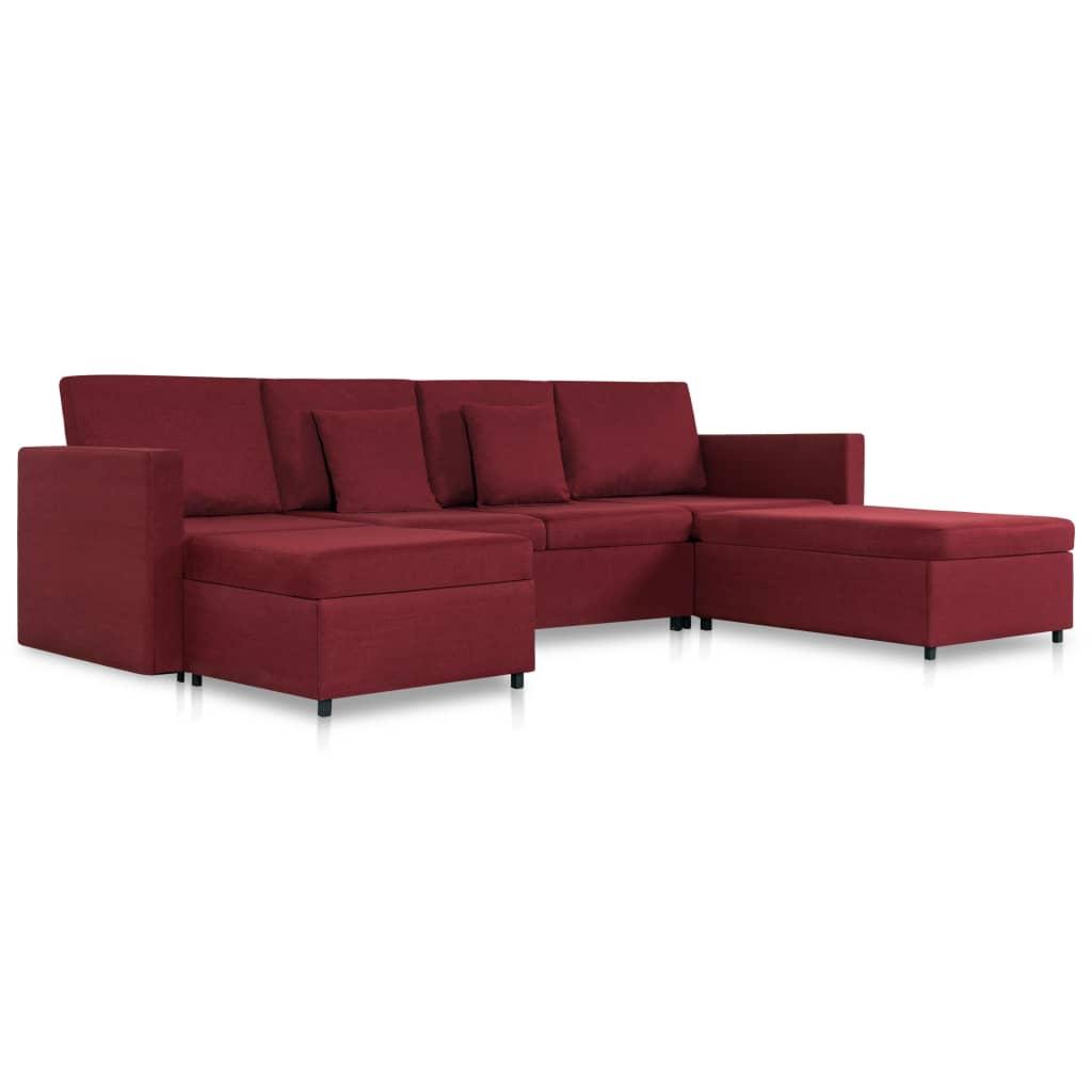 vidaXL Καναπές Κρεβάτι Τετραθέσιος Συρόμενος Μπορντό Υφασμάτινος