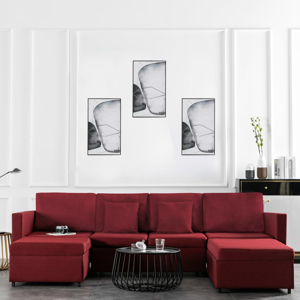 Canapé convertible 4 places Rouge Tissu Contemporain Confort
