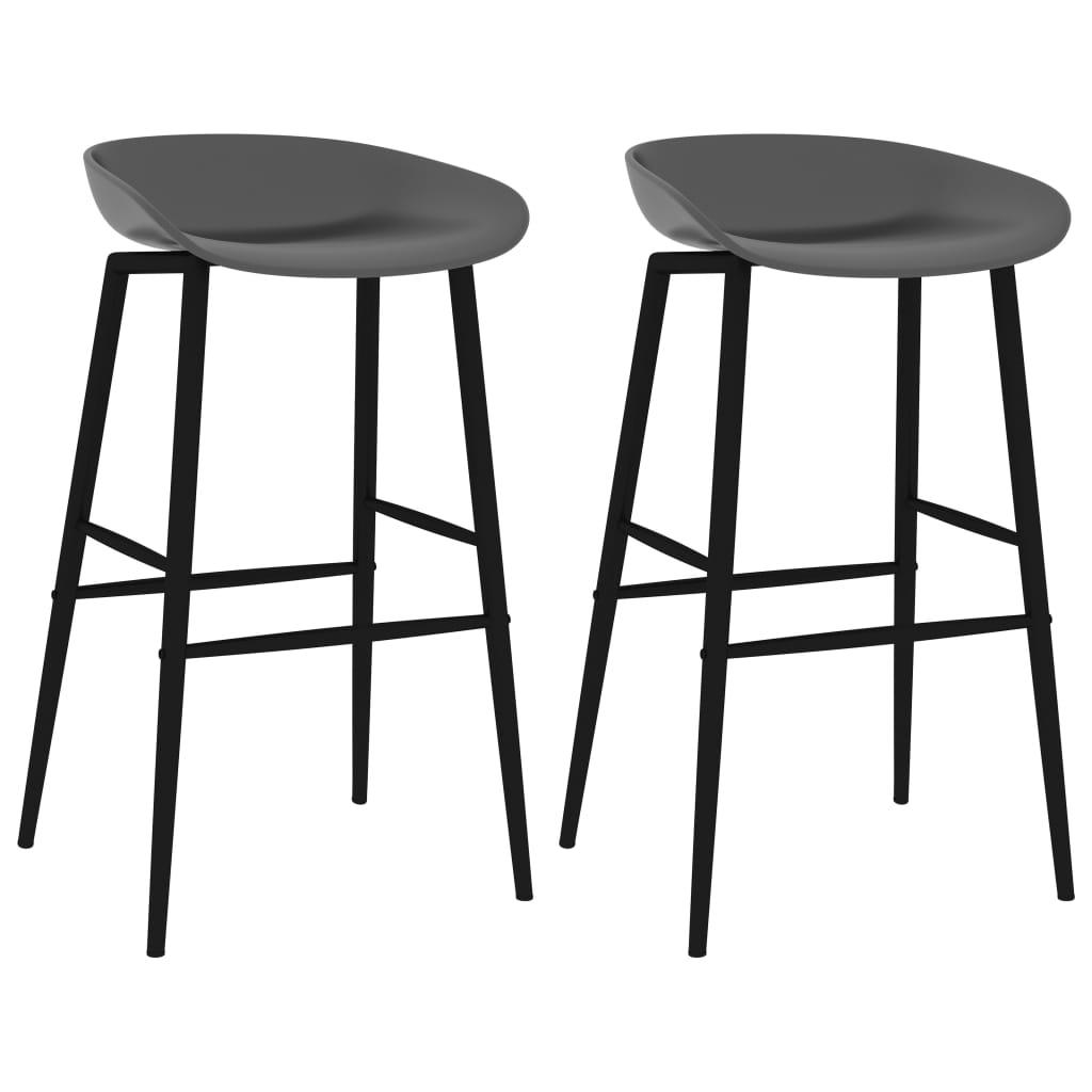 vidaXL Krzesła barowe, 2 szt., szare