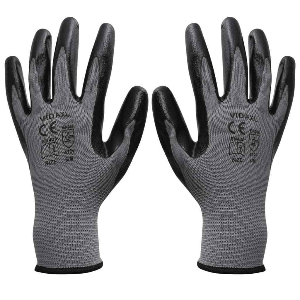 Pracovní rukavice nitrilové 1 pár šedo-černé velikost 9/L