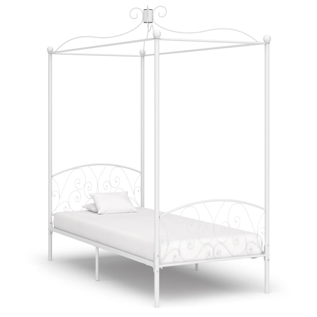 vidaXL Cadru de pat cu baldachin, alb, 100 x 200 cm, metal imagine vidaxl.ro