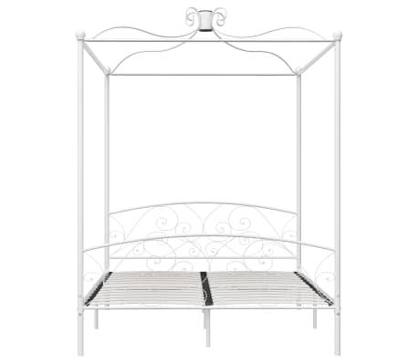 vidaXL Cadre de lit à baldaquin Blanc Métal 160 x 200 cm[3/5]