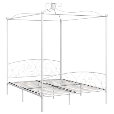 vidaXL Cadre de lit à baldaquin Blanc Métal 160 x 200 cm[2/5]