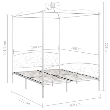 vidaXL Cadre de lit à baldaquin Blanc Métal 160 x 200 cm[5/5]