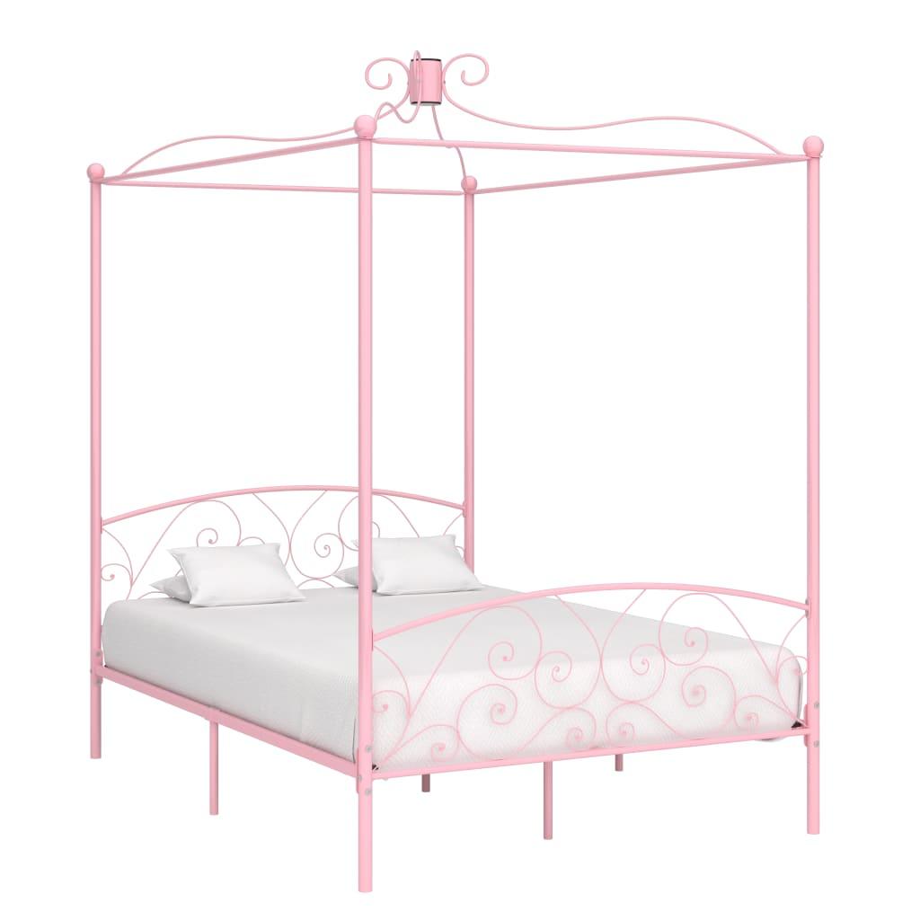 vidaXL Cadru de pat cu baldachin, roz, 120 x 200 cm, metal poza vidaxl.ro
