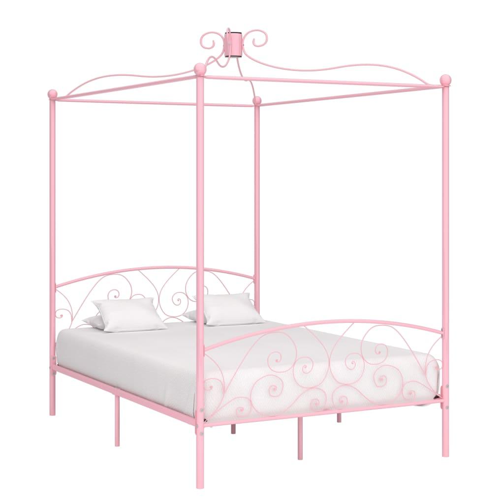 vidaXL Hemelbedframe metaal roze 140x200 cm