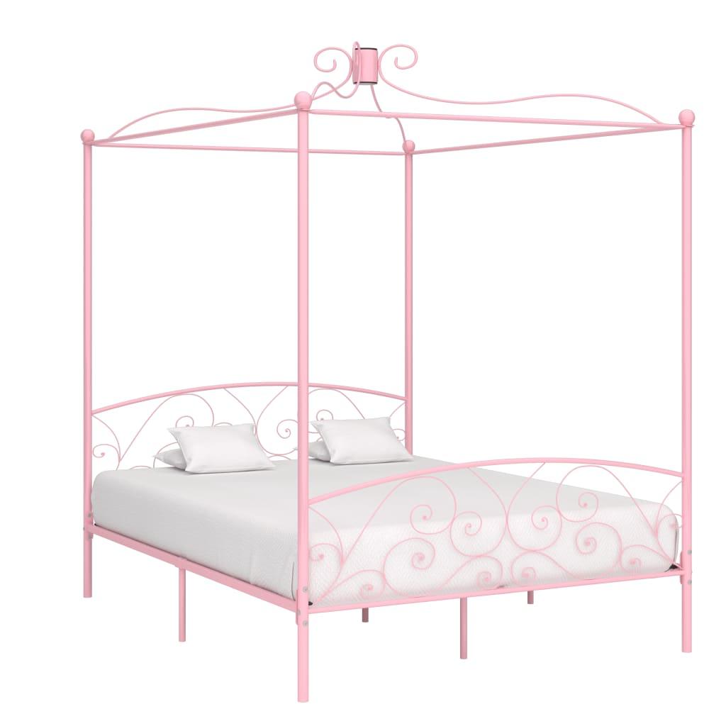 vidaXL Cadru de pat cu baldachin, roz, 180 x 200 cm, metal vidaxl.ro