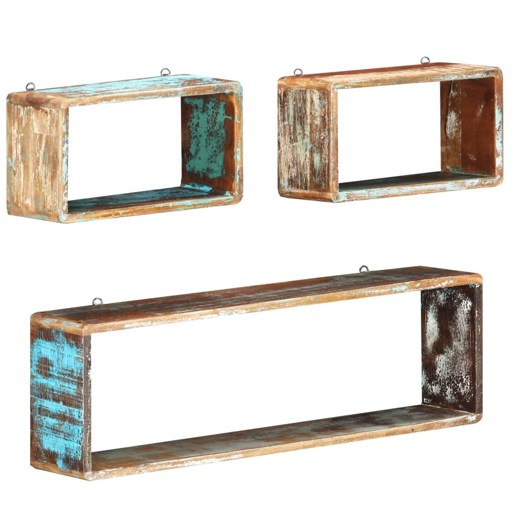 vidaXL Set rafturi de perete cub, 3 piese, lemn masiv reciclat imagine vidaxl.ro