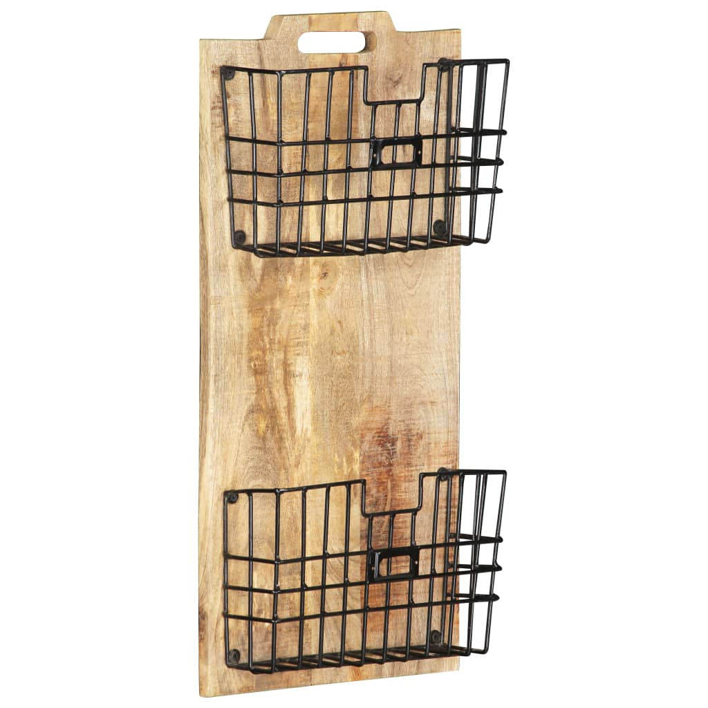 Nástěnný stojan na časopisy 33x10x67 cm masivní hrubý mangovník